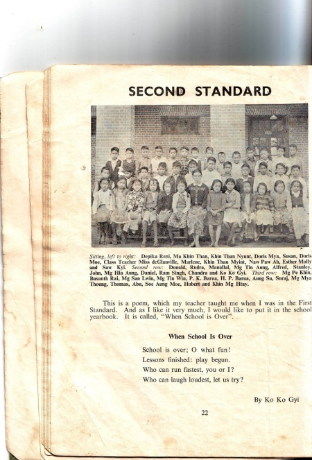 My pic and short status message at 2nd. Std. in Kingswood School Kalaw, 53 years ago
